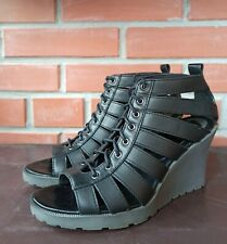 Dr Martens Sandals 7 US 38 EU 5 UK Mona Wedge Sandals Strappy Lace Up Cut outs