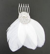 Blanc Fascinator À Plumes Peigne À Cheveux Argent Strass Mariée 1920s Charleston