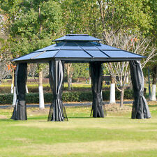 Outsunny 12' x 10' Polycarbonate Hardtop Gazebo Outdoor w/ Double Roof Netting