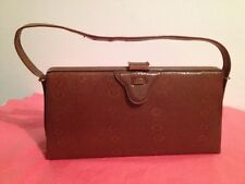 Vintage 1960's Handbag/Tan Coloured Snake Skin Effect/With Mirror/Retro/VGC