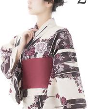 Japanese Women's Traditional YUKATA KIMONO Obi Sandal Set Elegance Taste 2 Black