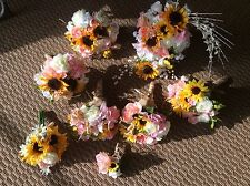 Wedding flowers bouquets bridal floral decorations sunflowers pink
