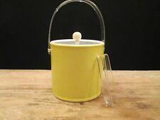 Vintage YELLOW WHITE ICE BUCKET & TONGS Vinyl Plastic Barware Lid Handled Retro