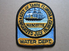 Mascotte Tampa Florida Water Dept Woven Cloth Patch Badge (L1K)