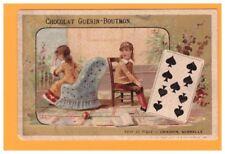 IMAGE Chromo CHOCOLAT GUERIN BOUTRON / JEU de CARTES 9 Pique / ENFANT dispute