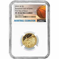 2020-W Proof $5 Gold Basketball Hall of Fame NGC PF70UC FDI Basketball Label