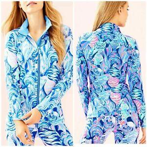NEW Lilly Pulitzer UPF 50 + Sunset Key LUXLETIC Jacket Twilight Blue Scale Up XS