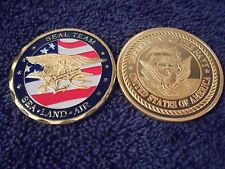 US Navy SEAL Team Coin with Flag and 24kt Gold Insignia Shipped w/ Capsule