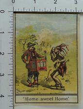 Victorian Trade Card Native American Crying Tepees Organ Grinder Hatchet *A