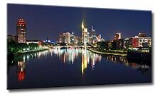 Leinwand Bild Frankfurt Skyline bei Nacht Spiegelung Wasser Städte Bilder Night