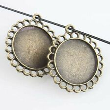 15pcs Lots Charms Blank Lace Round Frame Design Antiqeu Bronze Alloy Pendant J