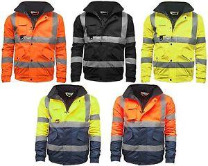 Mens Hi Vis Visibility Two Tone Waterproof Bomber Jacket Safety Work Wear Hi Viz