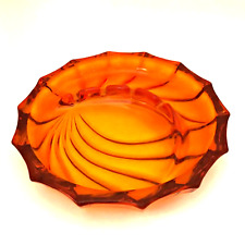 "Viking Retro Orange Glass Ashtray Mid Century Modern Vintage Art Glass 8"" Round"