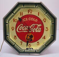 Vtg Original 1930s Ice Cold Coca Cola Coke Advertising Neon Octagon Clock Green
