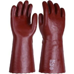 """Chemical & Solvent Resistant Red PVC Gauntlet Gloves - Sizes - 14"""" 16"""" 18"""""""
