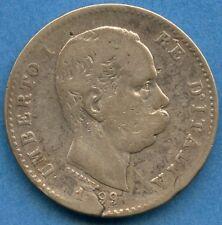 "1899 Italy 1 Lira Silver Coin "" SPLIT PLANCHETT "" ( 5 Grams .835 )"