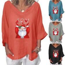 Women Xmas Christmas Printed Oversized Long Sleeves Loose Comfy Blouse Tops Tee