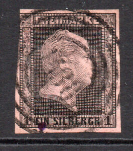 Prussia (Germany) 1sgr Stamp c1850-56 SG 5 Black & Pink Used (7574)
