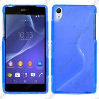 Housse Etui Coque Silicone Motif S-line Gel Souple Bleu Sony Xperia Z2 D6503