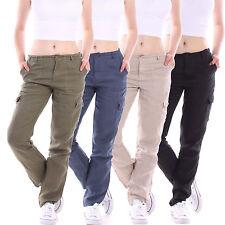Leinene Damen-Hosen im Cargo, Militär-Stil