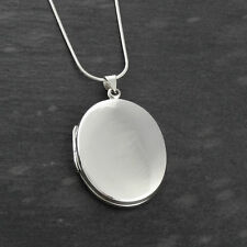 Custom Engraved Oval Locket -925 Sterling Silver- Personalized Necklace SN