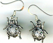 "925 Sterling Silver Ladybird / Ladybug Dangle Earrings Lgth 1.1/5"" with hooks"