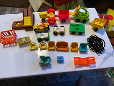 Vintage Lot of 21 Fisher Price Little People Vehicles & Other Accessories