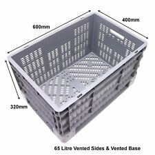 NEW Strong Industrial Fully Ventilated Plastic Storage Boxes Euro Box 65 Litre