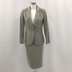 Reiss Suit Skirt Blazer Grey Size UK 10 Women's Buttoned Formal Smart 030607