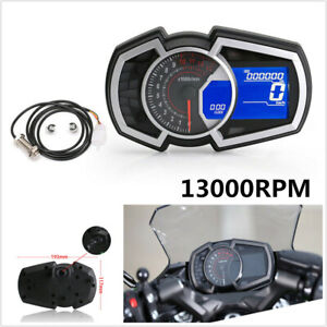 12V 13000RPM Universal LCD Motorcycle Speedometer Odometer RPM Speed Fuel Gauge