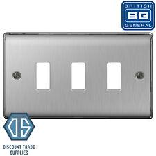 BG Nexus Grid 3 Gang Modular Front Plate Brushed Steel Gnbs3