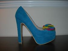 WOMEN'S LADIES HIGH HEELS STILETTOS TURQUOISE SYNTHETIC SUEDE EU SIZE 37 / UK 4