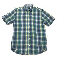Gap Slim Fit Shirt Mens Size M Medium Green Checked Short Sleeve Button Front