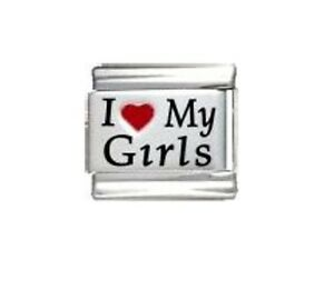 9mm Italian Charm Daughters  I Love My Girls Fits Classic Size Bracelet