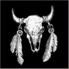Buffalo Skull with Feathers Biker MC BIKER  SKULL Pin