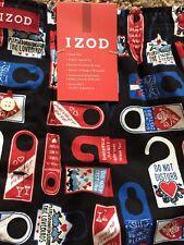 "Men's Izod Boxer Black Small 28-30 Nwt 100% Cotton Fun ""Do Not Disturb Signs"""