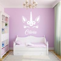 Personalised Name Unicorn Wall Art Girls Room Childrens Kids Sticker Vinyl Decal