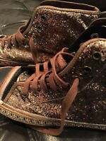 🏆Gorgeous Antique Gold Bronze Glitter High Top Sneakers / Shoes Sz 38/39🏆