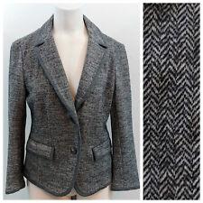 Ann Taylor Loft Blazer Size M Herringbone Gray Wool Blend Boyfriend 3/4 Sleeve
