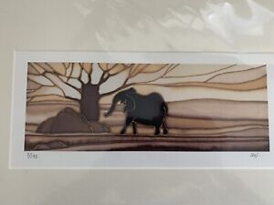 Limited Edition Print 3/195 Elephant By Stef Stephenson Modern Art Mounted