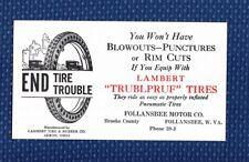 1920's LAMBERT TIRE & RUBBER Co. Trublpruf Tires Advertising Ink Blotter - NOS