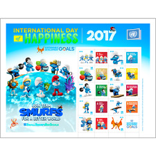 2017 UNITED NATIONS  - PERSONALIZED  SHEET-SMURFS - NEW YORK SHEET-MINT NH #1158