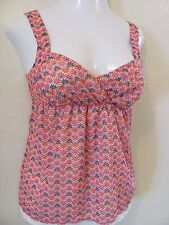 Candie's pink green babydoll top nwt size S 4 5 elastic back layered off white