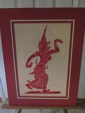 "Thai dancers-Temple rubbings /raised /3d-unframed-Lot of 2-Very nice!!!!! 18x24"""
