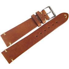 22mm Mens Fluco Hunter Tobacco Brown German Leather Aviator Watch Band Strap