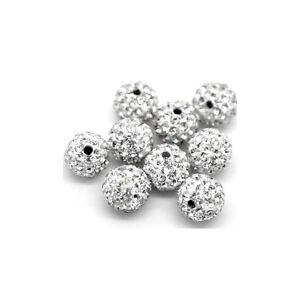 10 pcs Crystal Silver 8MM Shambala Rhinestone Disco Ball Beads