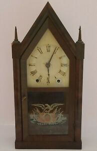 Antique 1846 BRISTOL & INGRAHAMS Eagle Glass Gothic Steeple Mantel Shelf Clock