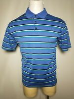 Tiger Woods Collection Nike DRI-FIT Large L Blue Striped Men's Polo Shirt