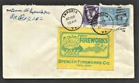 Spencer Fireworks Company Label tied to cover - 1944