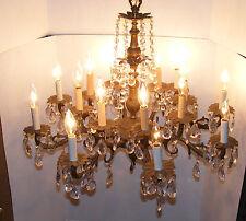 "Vintage Brass Prism Chandelier 16 Light 28"" Diam 8 Arm Ornate Spanish Style"
